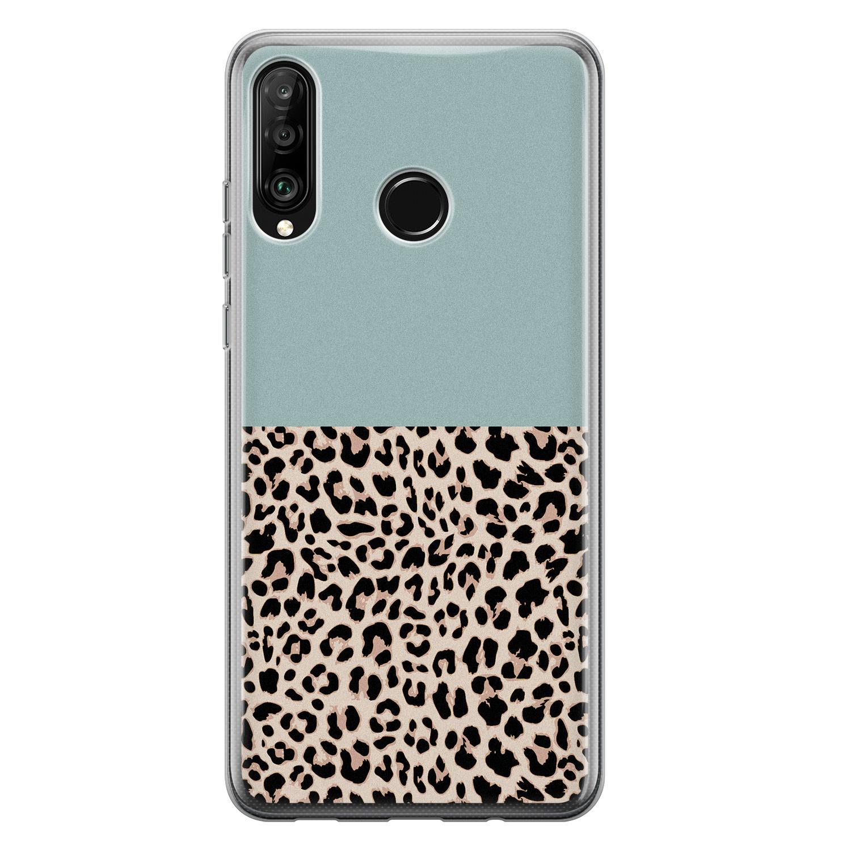 Leuke Telefoonhoesjes Huawei P30 Lite siliconen hoesje - Luipaard mint
