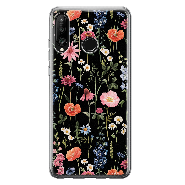 Huawei P30 Lite siliconen hoesje - Dark flowers