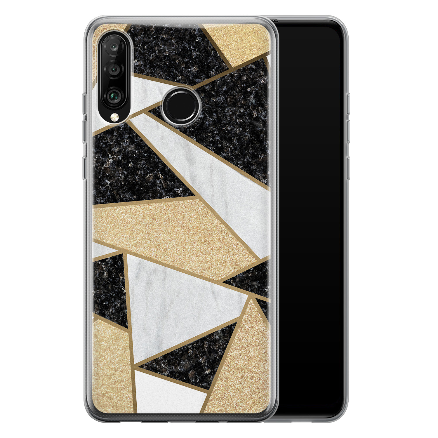 Huawei P30 Lite siliconen hoesje - Goud abstract