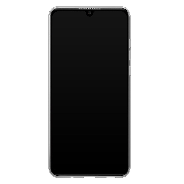 Huawei P30 Lite siliconen hoesje - Goud blauw marmer