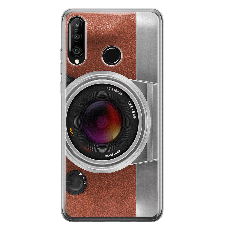 Huawei P30 Lite siliconen hoesje - Vintage camera