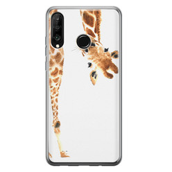 Huawei P30 Lite siliconen hoesje - Giraffe peekaboo