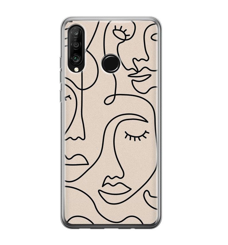 Huawei P30 Lite siliconen hoesje - Abstract gezicht lijnen