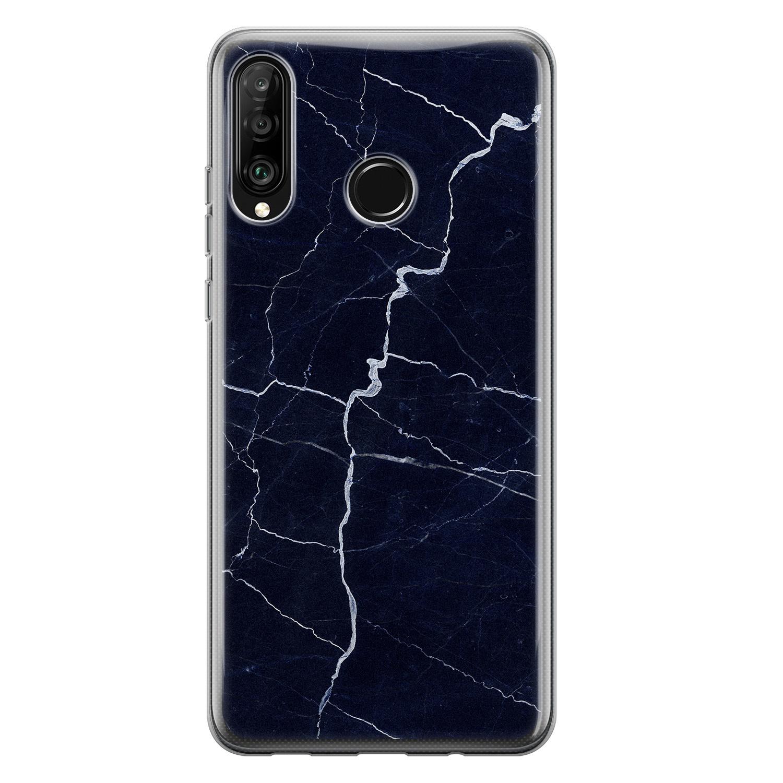 Huawei P30 Lite siliconen hoesje - Marmer navy blauw