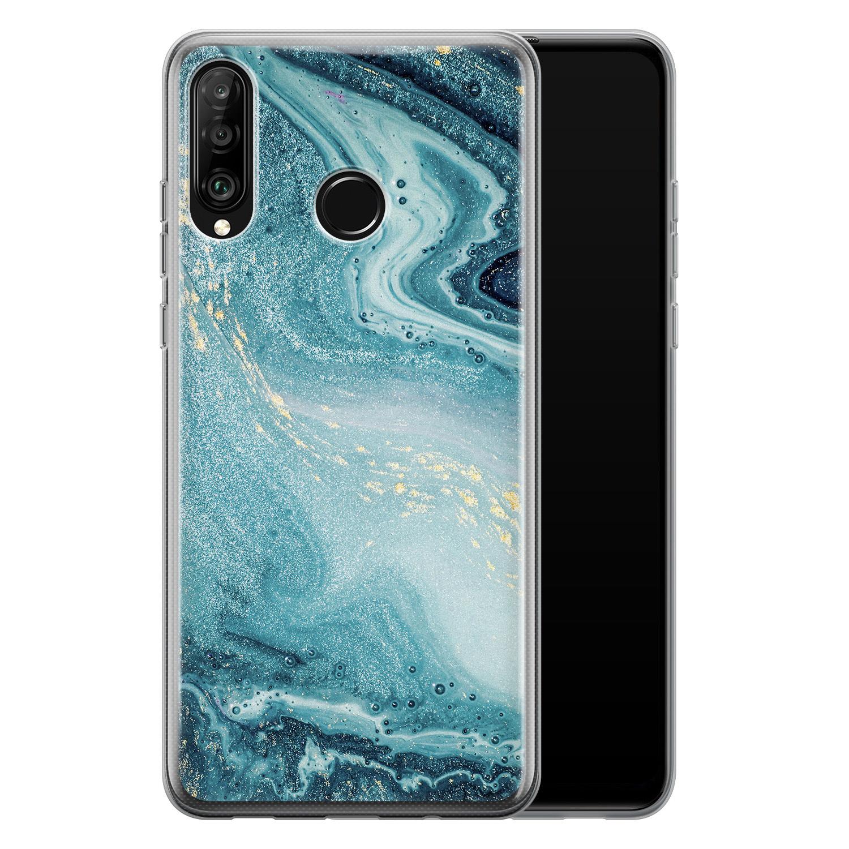 Huawei P30 Lite siliconen hoesje - Marmer blauw