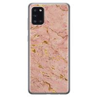 Samsung Galaxy A31 siliconen hoesje - Marmer roze goud