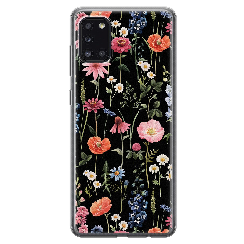 Samsung Galaxy A31 siliconen hoesje - Dark flowers