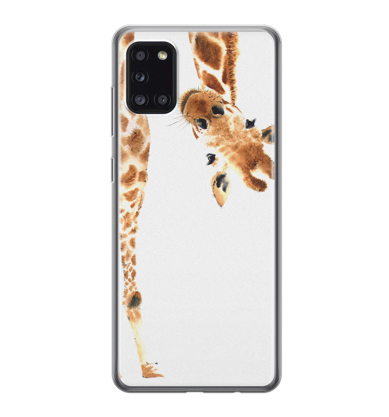 Samsung Galaxy A31 siliconen hoesje - Giraffe peekaboo