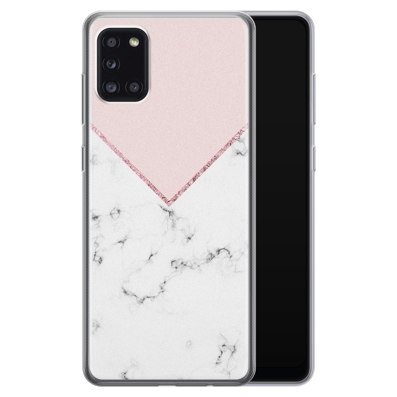 Samsung Galaxy A31 siliconen hoesje - Marmer roze grijs