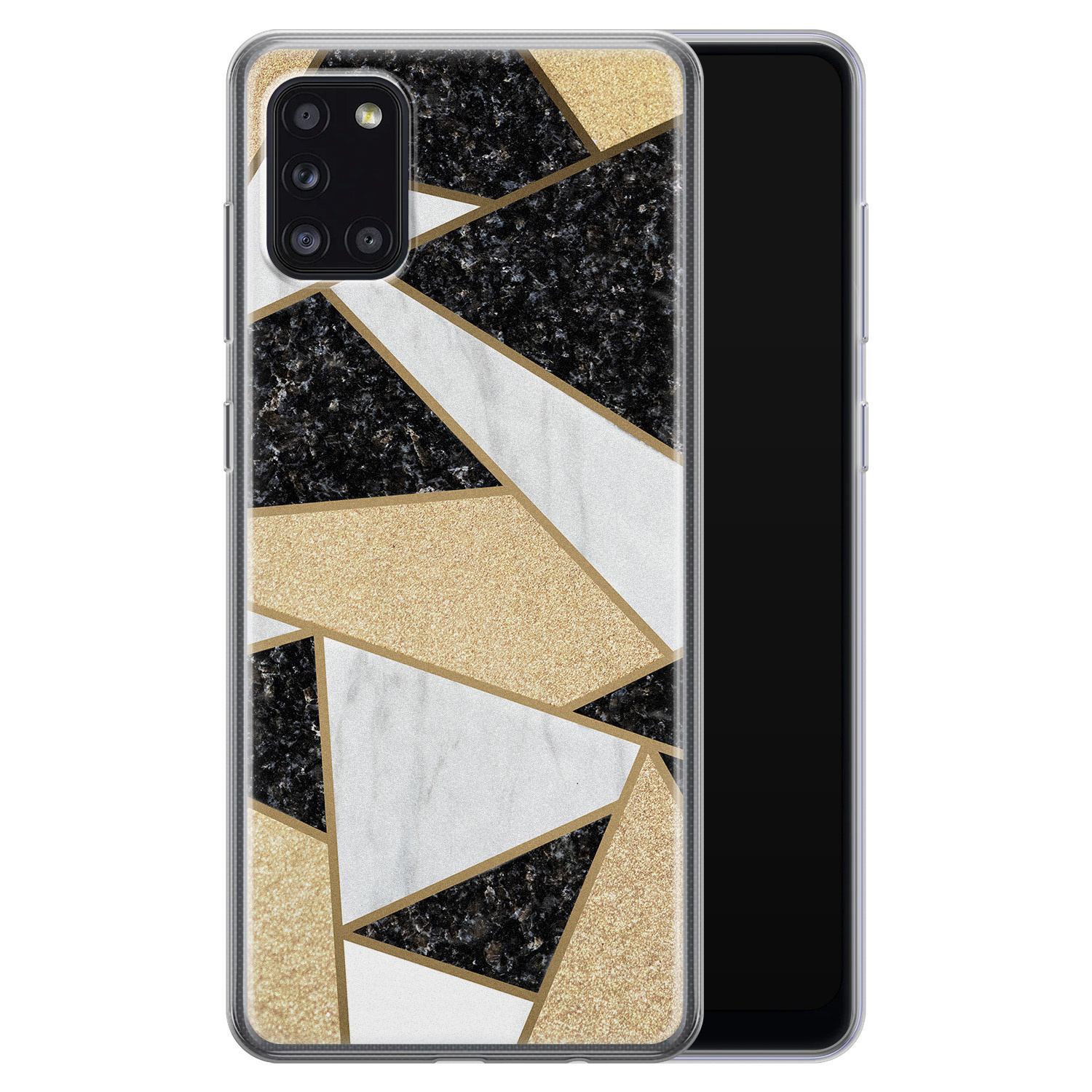 Samsung Galaxy A31 siliconen hoesje - Goud abstract