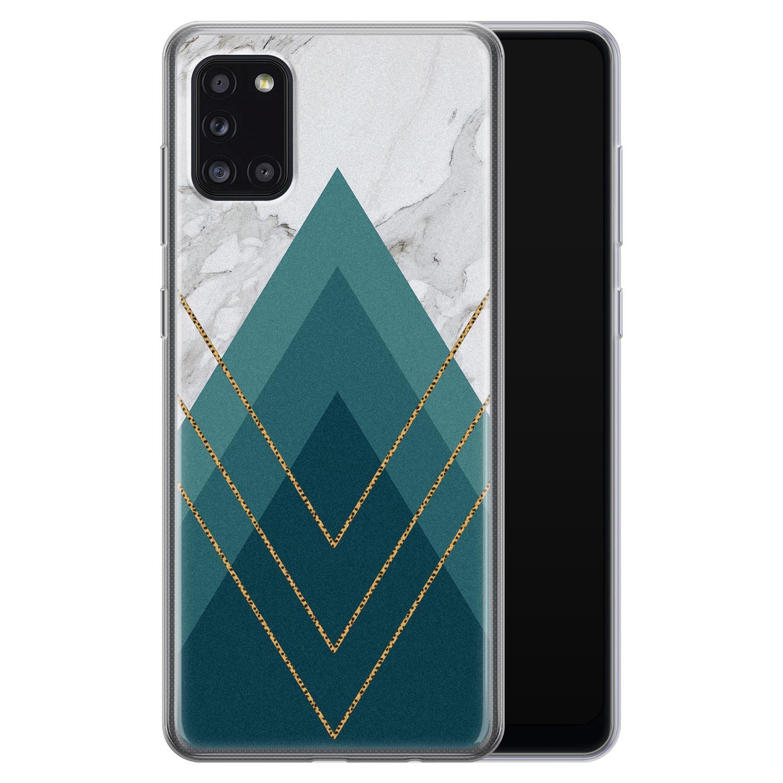 Samsung Galaxy A31 siliconen hoesje - Geometrisch blauw