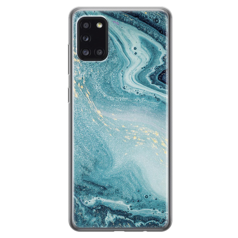Samsung Galaxy A31 siliconen hoesje - Marmer blauw