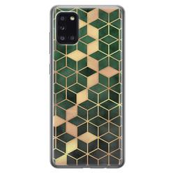 Leuke Telefoonhoesjes Samsung Galaxy A31 siliconen hoesje - Green cubes