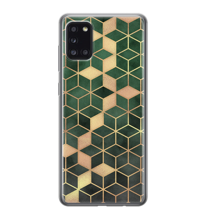 Samsung Galaxy A31 siliconen hoesje - Green cubes