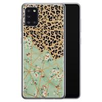 Samsung Galaxy A31 siliconen hoesje - Luipaard flower print