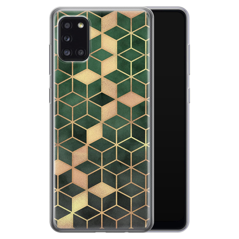 Samsung Galaxy A31 siliconen hoesje - Green cubes