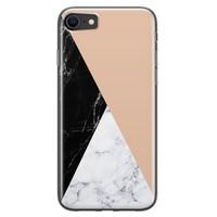 iPhone SE 2020 siliconen hoesje - Marmer zwart bruin