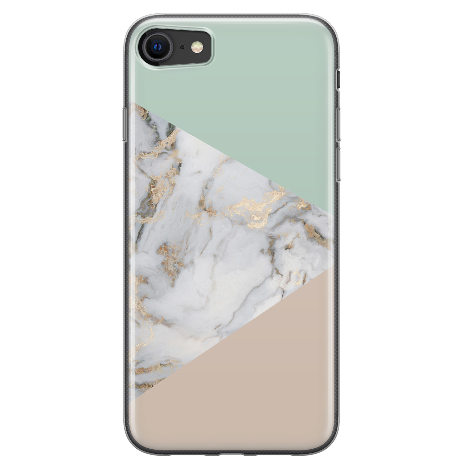 iPhone SE 2020 siliconen hoesje - Marmer pastel mix