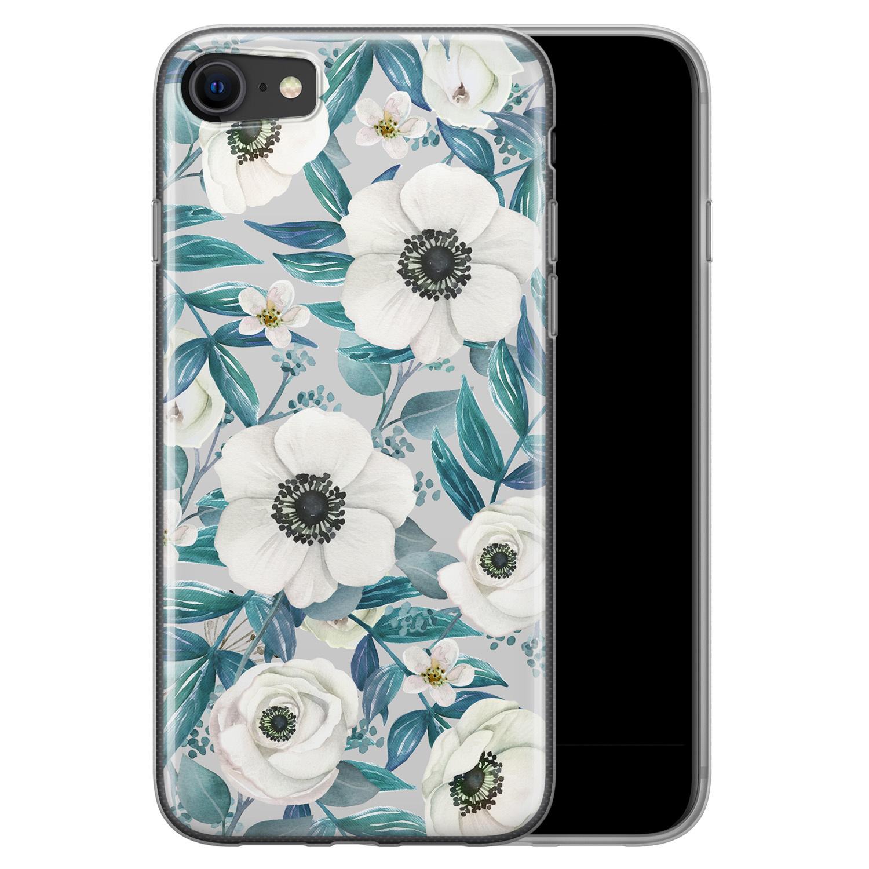 iPhone SE 2020 siliconen hoesje - Witte bloemen
