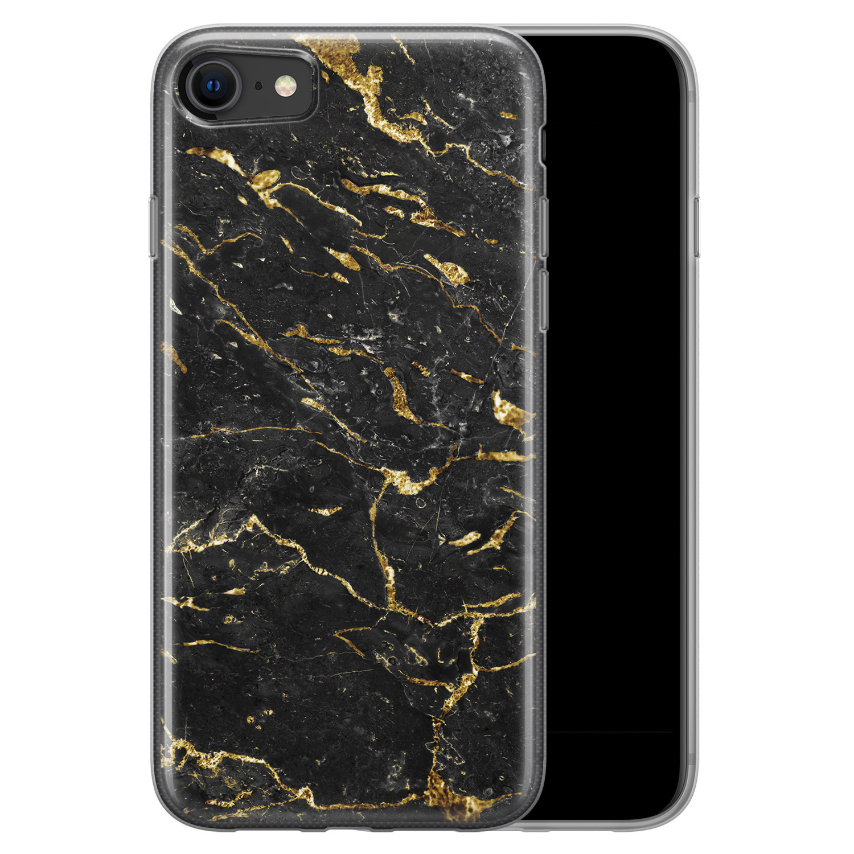 iPhone SE 2020 siliconen hoesje - Marmer zwart goud