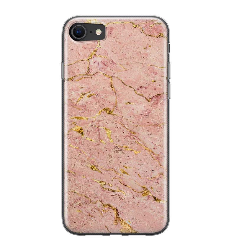iPhone SE 2020 siliconen hoesje - Marmer roze goud