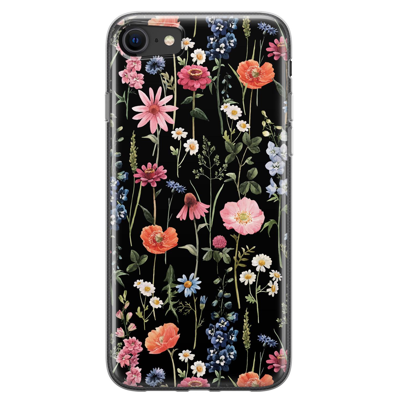 iPhone SE 2020 siliconen hoesje - Dark flowers