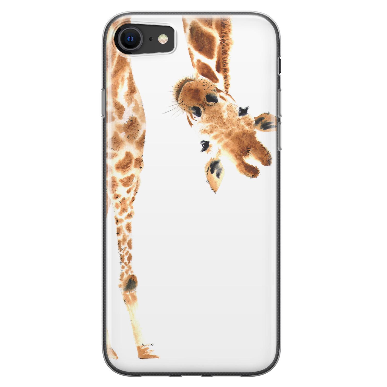 iPhone SE 2020 siliconen hoesje - Giraffe peekaboo