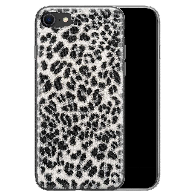 iPhone SE 2020 siliconen hoesje - Luipaard grijs