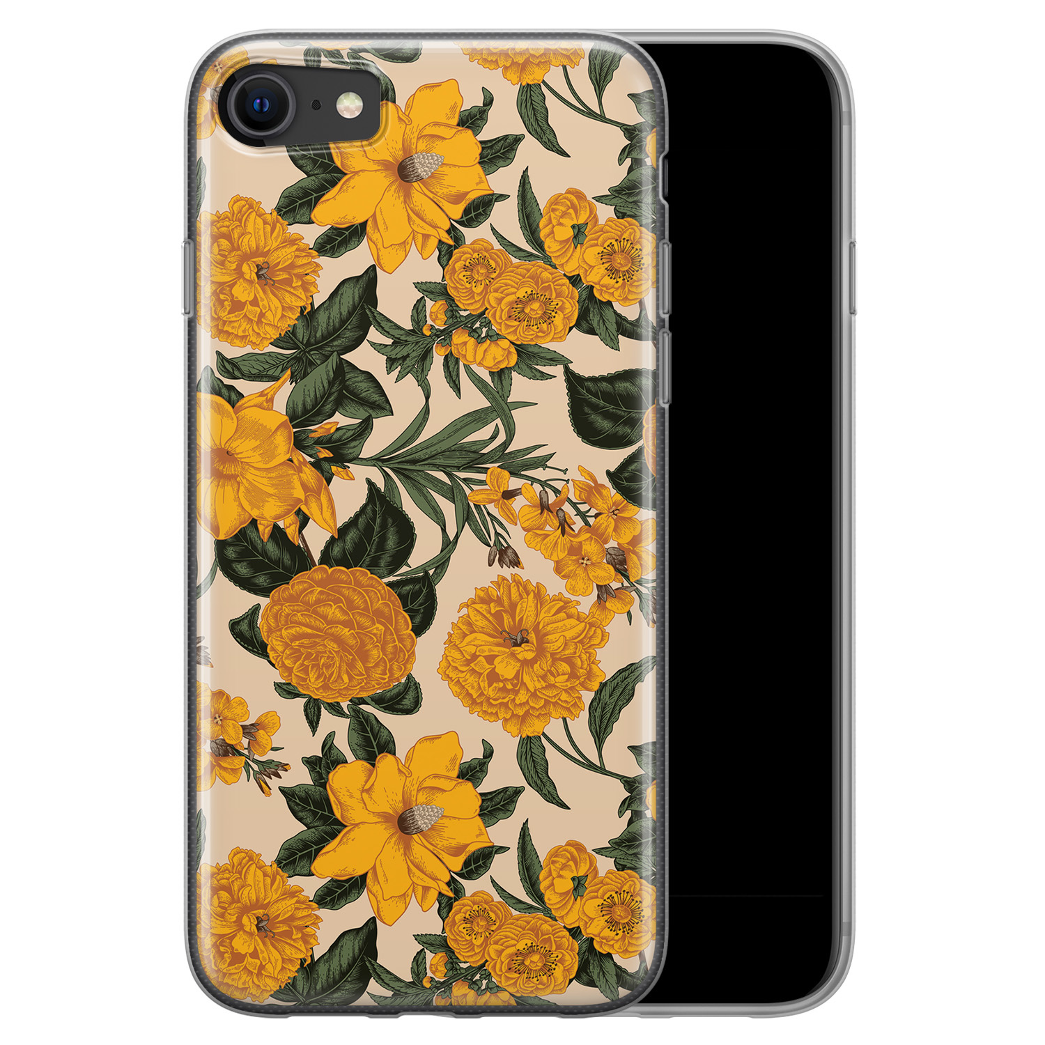 iPhone SE 2020 siliconen hoesje - Retro flowers
