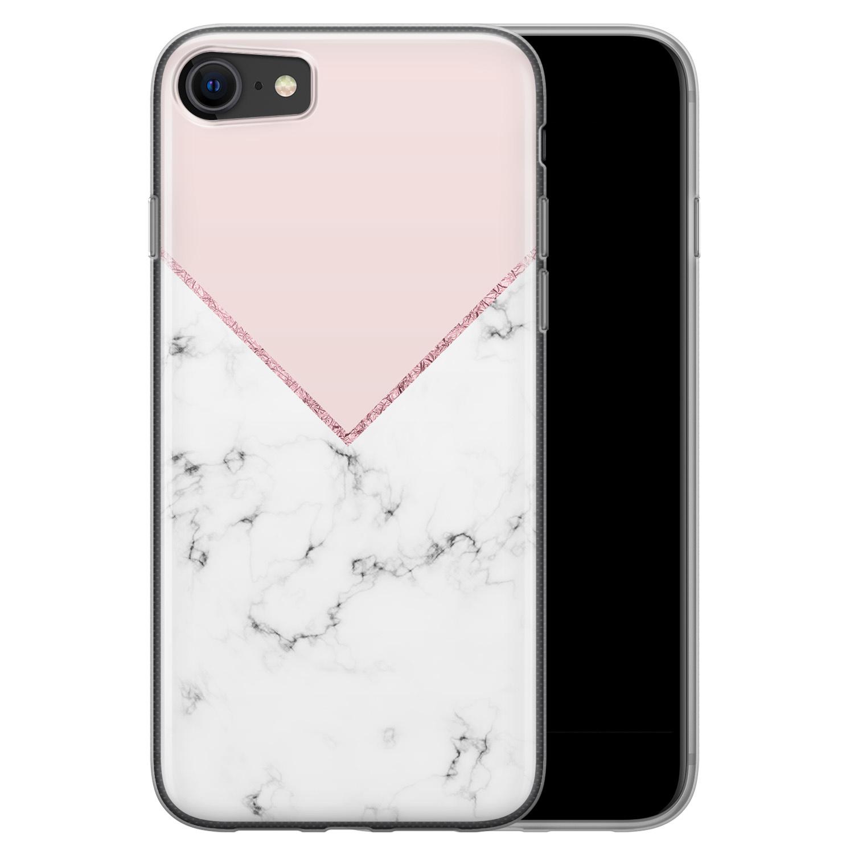 iPhone SE 2020 siliconen hoesje - Marmer roze grijs