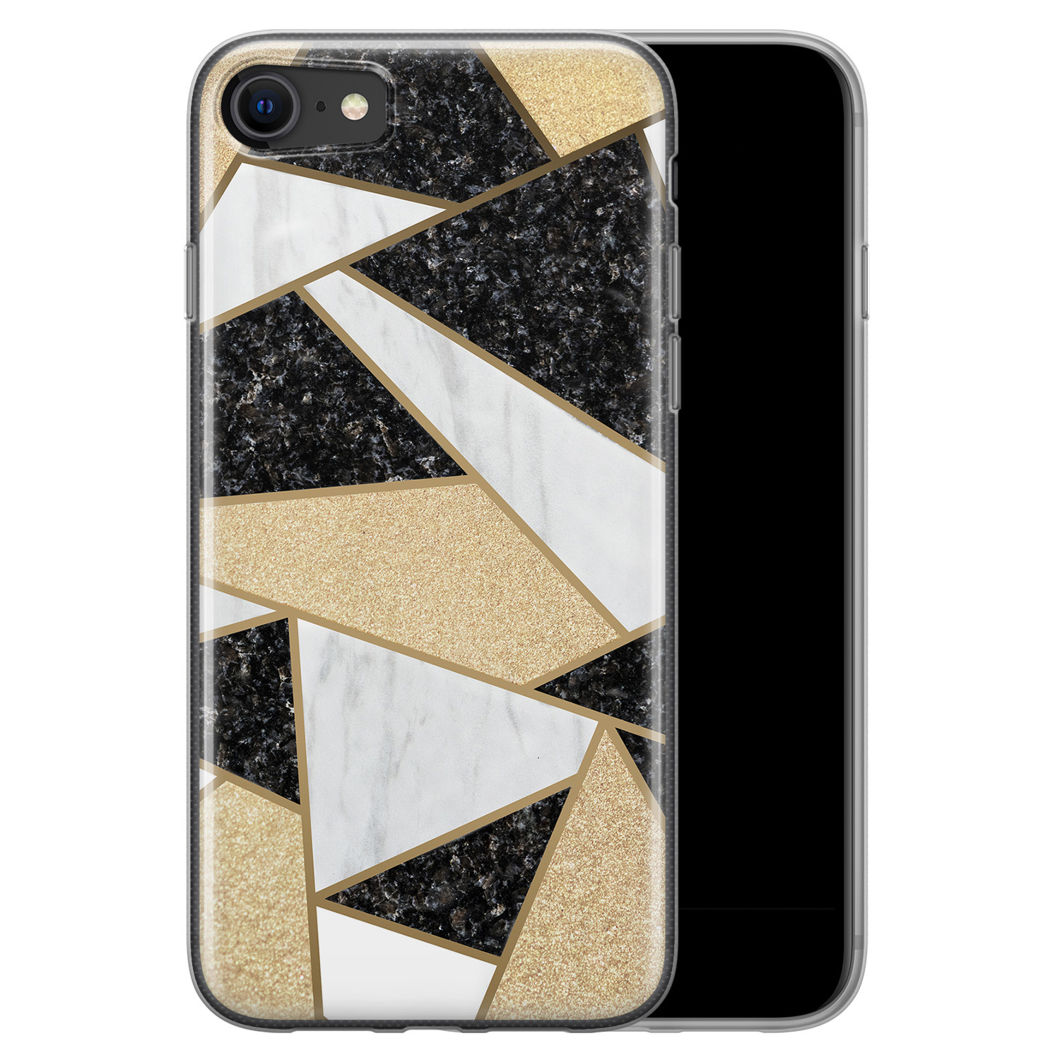 iPhone SE 2020 siliconen hoesje - Goud abstract