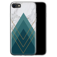 Leuke Telefoonhoesjes iPhone SE 2020 siliconen hoesje - Geometrisch blauw