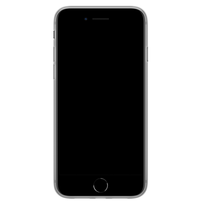 iPhone SE 2020 siliconen hoesje - Goud blauw marmer