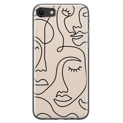 Leuke Telefoonhoesjes iPhone SE 2020 siliconen hoesje - Abstract gezicht lijnen