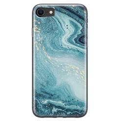 Leuke Telefoonhoesjes iPhone SE 2020 siliconen hoesje - Marmer blauw