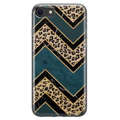 Leuke Telefoonhoesjes iPhone SE 2020 siliconen hoesje - Luipaard zigzag