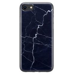 Leuke Telefoonhoesjes iPhone SE 2020 siliconen hoesje - Marmer navy blauw