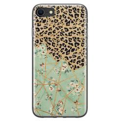 Leuke Telefoonhoesjes iPhone SE 2020 siliconen hoesje - Luipaard flower print