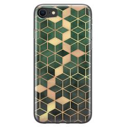 Leuke Telefoonhoesjes iPhone SE 2020 siliconen hoesje - Green cubes