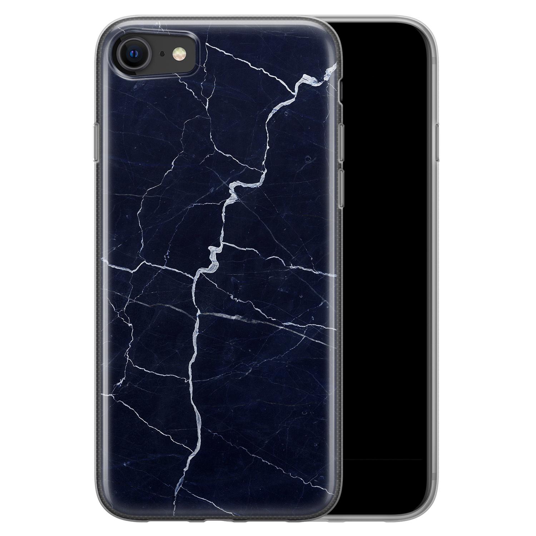 iPhone SE 2020 siliconen hoesje - Marmer navy blauw