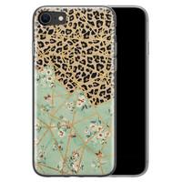 iPhone SE 2020 siliconen hoesje - Luipaard flower print