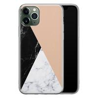 iPhone 11 Pro siliconen hoesje - Marmer zwart bruin