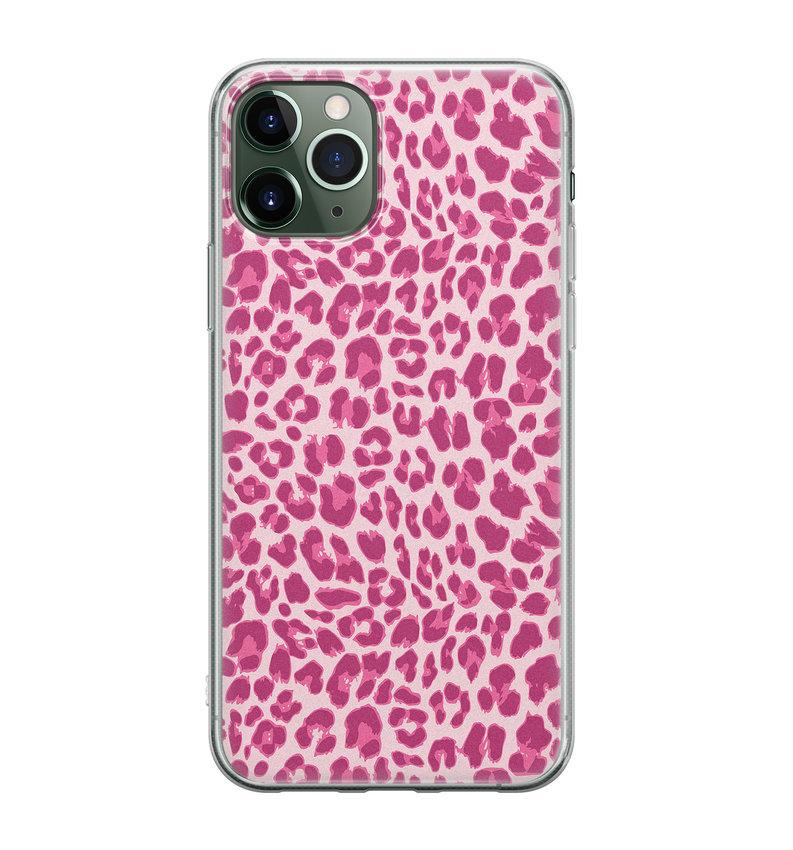 iPhone 11 Pro siliconen hoesje - Luipaard roze