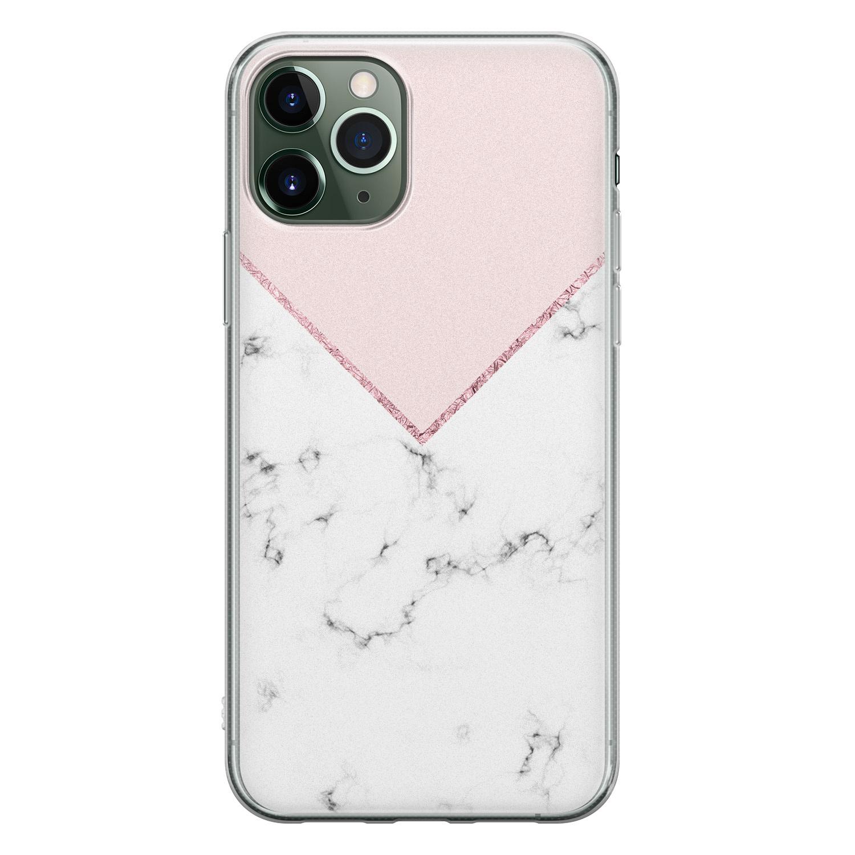 iPhone 11 Pro siliconen hoesje - Marmer roze grijs