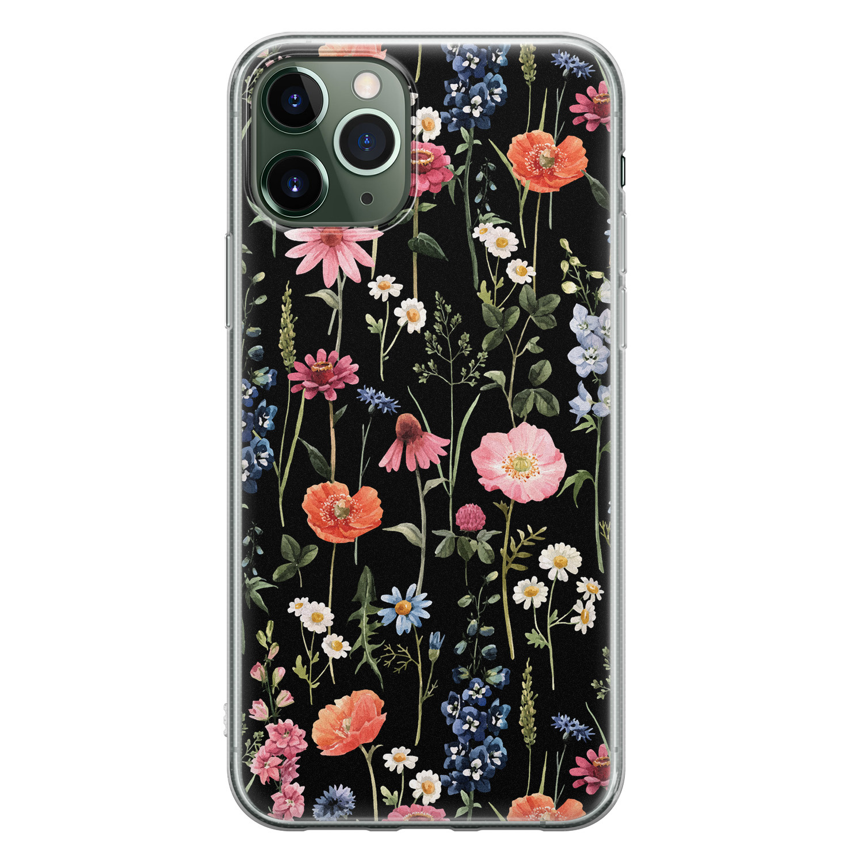 iPhone 11 Pro siliconen hoesje - Dark flowers