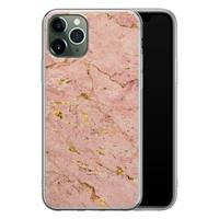 iPhone 11 Pro siliconen hoesje - Marmer roze goud