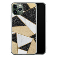iPhone 11 Pro siliconen hoesje - Goud abstract