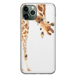 Leuke Telefoonhoesjes iPhone 11 Pro siliconen hoesje - Giraffe peekaboo