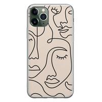 iPhone 11 Pro siliconen hoesje - Abstract gezicht lijnen