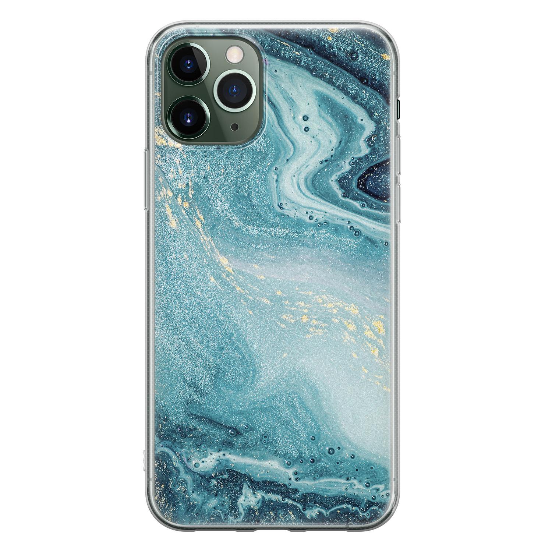 iPhone 11 Pro siliconen hoesje - Marmer blauw
